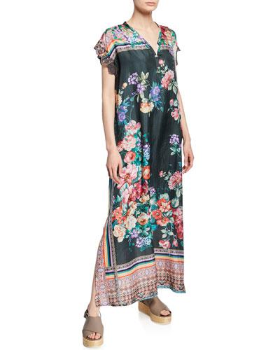 Bethia Floral-Print V-Neck Short-Sleeve Dress with Slip
