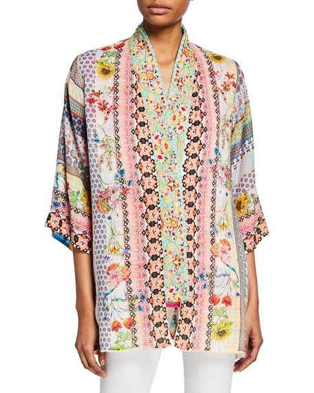 Johnny Was Maci Reversible Georgette Kimono with Embroidered Trim