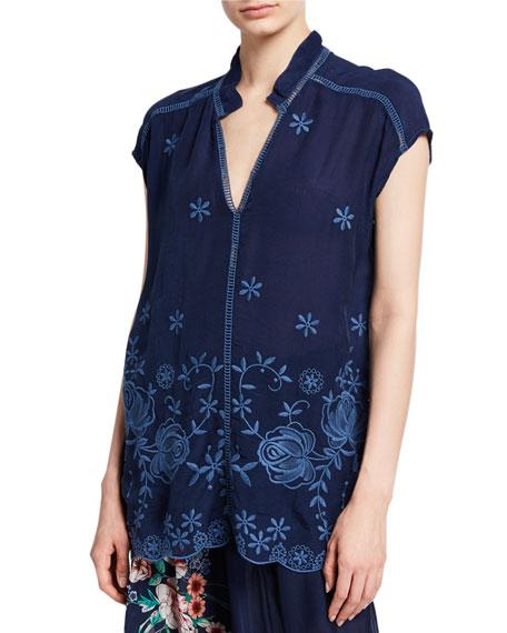 Johnny Was Trisa Embroidered V-Neck Short-Sleeve Georgette Blouse