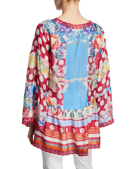 Johnny Was Plus Size Dadot Multi-Print Flare-Sleeve Silk Georgette Top