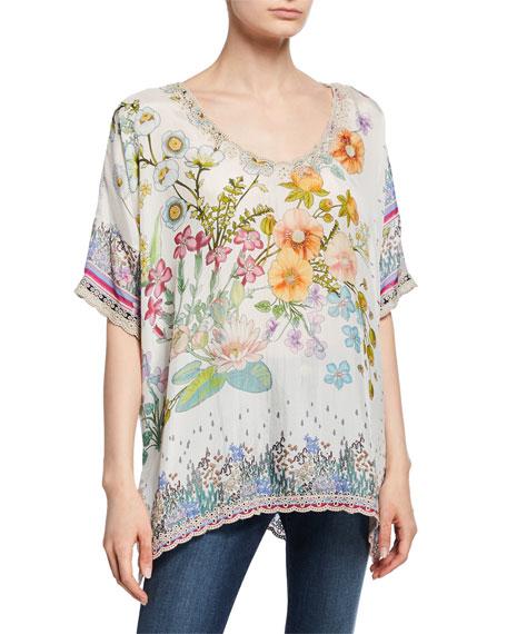 Johnny Was Floral-Print V-Neck Short-Sleeve Silk Georgette Top