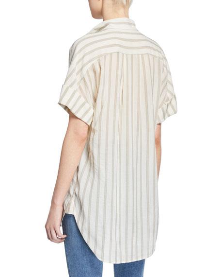 FRAME Striped Clean-Collar Short-Sleeve Shirt