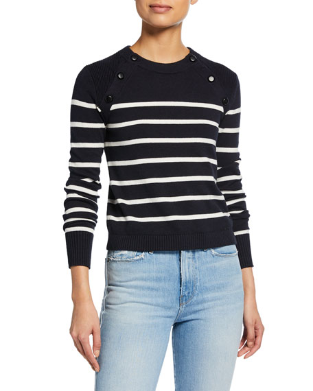 FRAME Mariner Stripe Cotton Sweater w/ Button Detailing