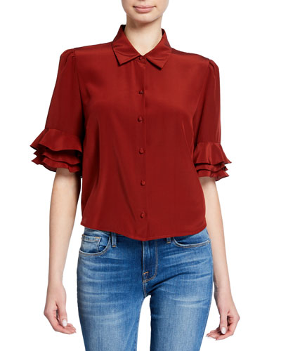Button-Front Ruffle Sleeve Crop Top