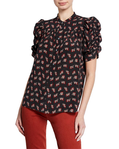Smocked-Sleeve Yoked Button-Down Top