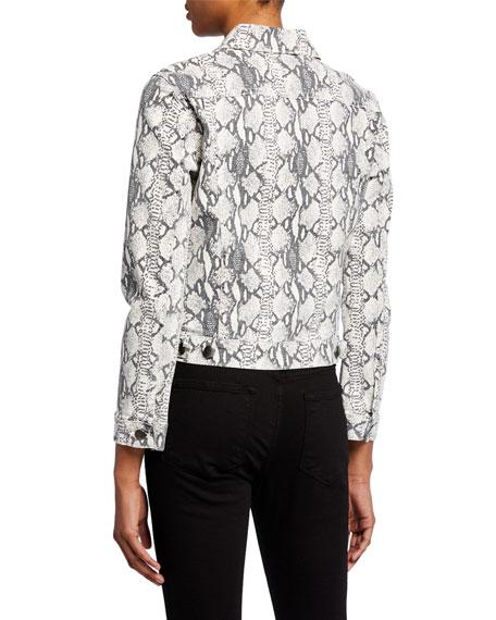 FRAME Vintage Python-Print Denim Jacket