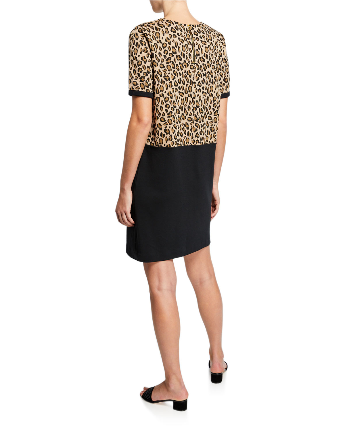 Plus Size Colorblock Leopard Print Short-Sleeve Cotton Dress