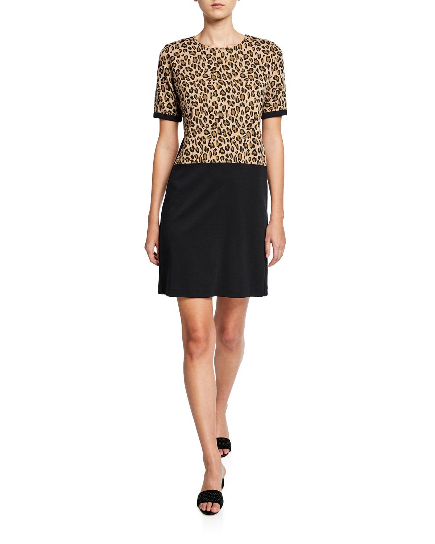 Plus Size Colorblock Leopard Print Short-Sleeve Cotton Dress