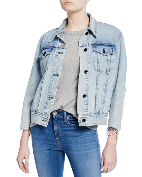 Rag & Bone Oversized Distressed Denim Jacket