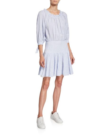 Rebecca Taylor Striped 3/4-Sleeve Scoop-Neck Short Dress