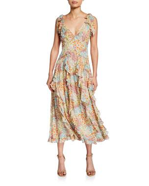 cfd76a92ad1944 Rebecca Taylor Ava Floral-Print Ruffle Tank Midi Dress