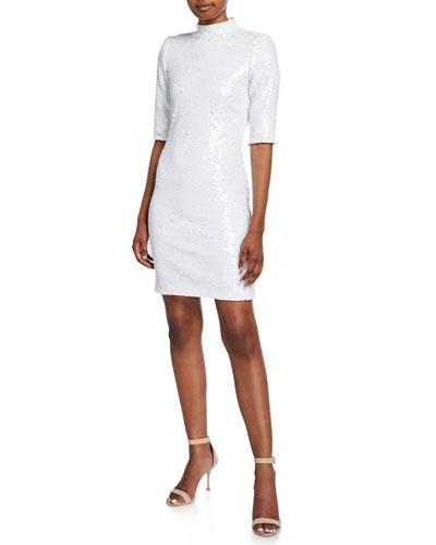 Inka Sequin Mock-Neck Elbow-Sleeve Dress w/ Strong Shoulders