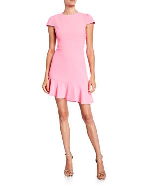 28c6c36cc08f Alice + Olivia Fable Asymmetrical Ruffle Short-Sleeve Dress