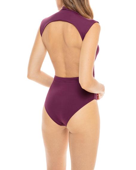 Revel Rey Gene Plunging Open-Back One-Piece Swimsuit