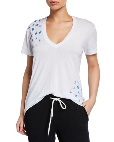 Relaxed V-Neck Short-Sleeve Tee with Faded Stars