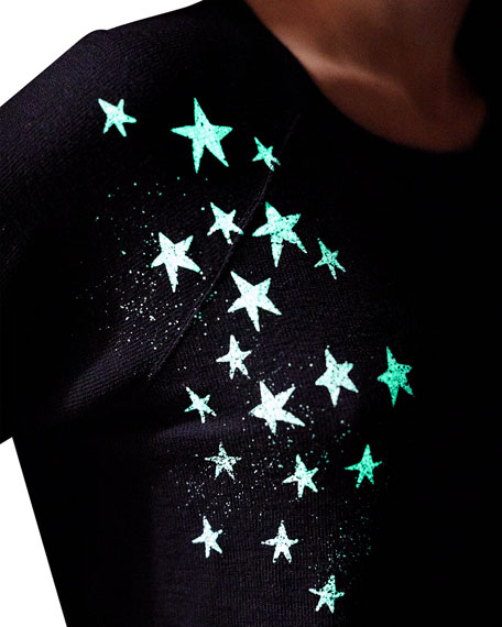 Monrow Super-soft Vintage Raglan-Sleeve Top with Faded Stars