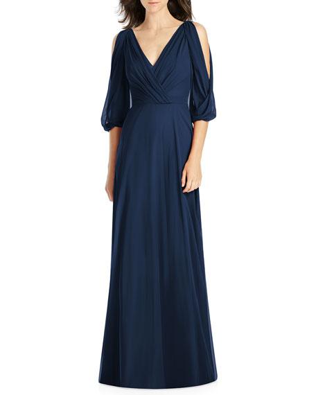 Jenny Packham Draped V-Neck Cold-Shoulder Blouson-Sleeve Lux Chiffon Bridesmaid Dress