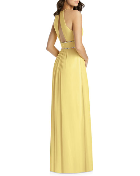33630c50a4e9 Image 3 of 3: Jenny Packham Lux Chiffon Halter Bridesmaid Gown with Beaded  Trim