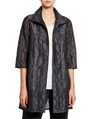 129fde8cbf Caroline Rose Plus Size Equinox Geometric Jacquard 3/4-Sleeve Topper Jacket