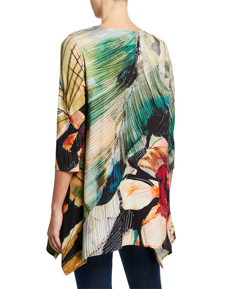 Caroline Rose Petite Autumn Hues Abstract 3/4-Sleeve Stretch Knit Swing Tunic