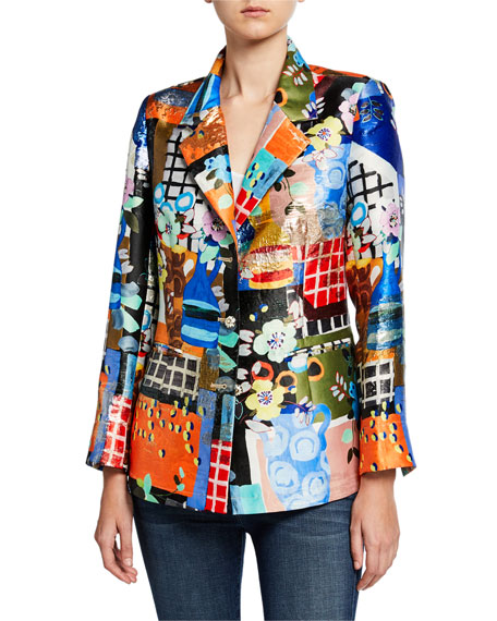 Berek Petite Colorful Three-Button Mixed Media Blazer