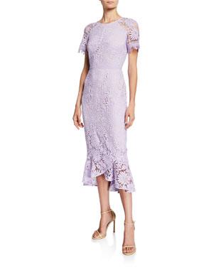 0a85fd781f5 Shoshanna Edgecombe Short-Sleeve Floral Lace Midi Dress