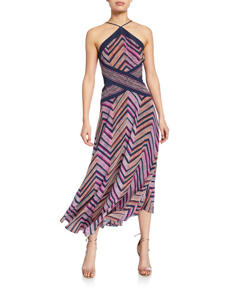 Ramy Brook Percy Chevron-Printed Strappy Halter Dress