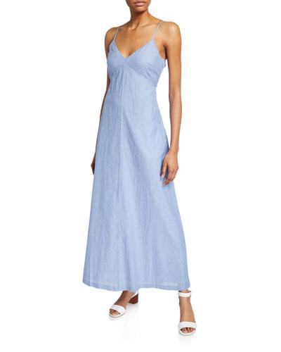 Odessya Striped V-Neck Tie-Back Cotton A-Line Dress