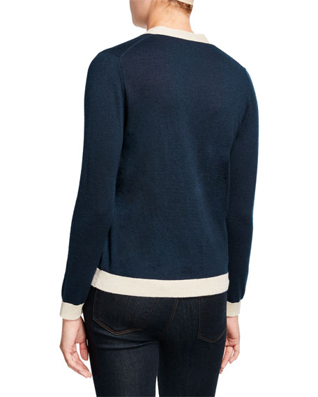 Neiman Marcus Cashmere Collection Button-Front Cashmere Cardigan with Metallic Trim
