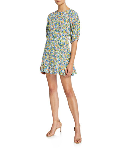 Jeanette Floral Crewneck Elbow-Sleeve Mini Dress