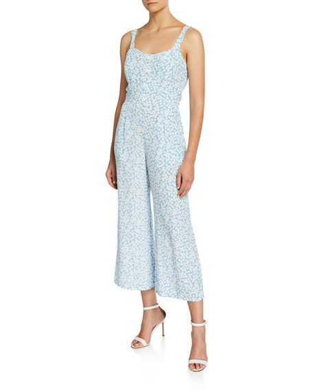 Faithfull the Brand Marija Printed Tie-Back Sleeveless Wide-Leg Crop Jumpsuit