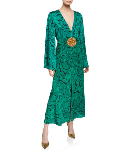 Indra Printed V-Neck Long-Sleeve Silk Lame Dress