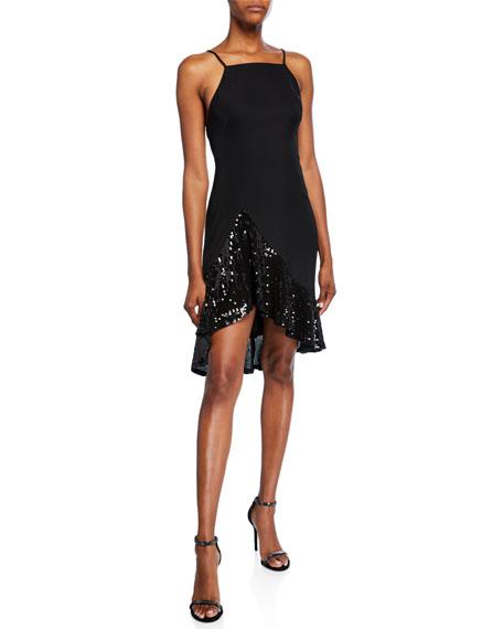 SHO Sleeveless Crepe & Sequin High-Low Dress with Ruffle Hem