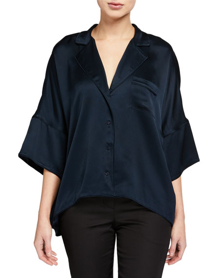 Joie Desmonda Button-Front Satin Top