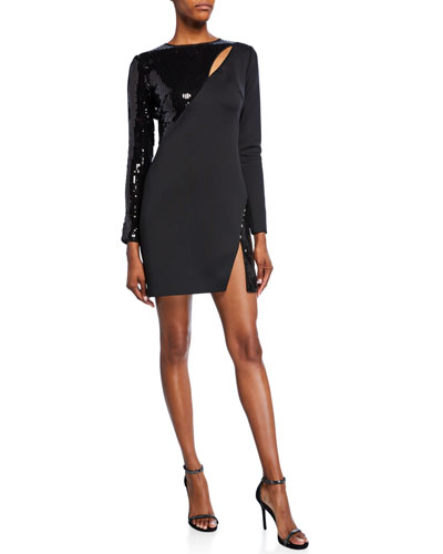 Long-Sleeve Neoprene & Sequin Cutout Dress