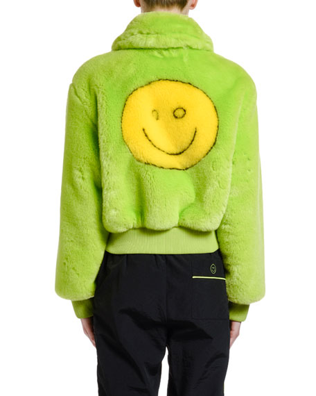 Kirin Smiley Faux-Fur Bomber Jacket