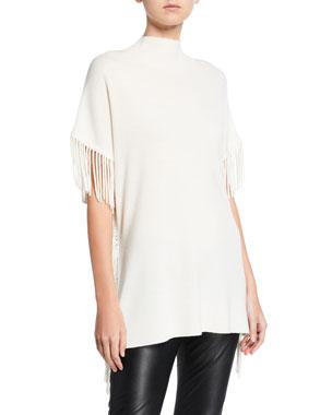 61a1164eaf3e61 Elie Tahari Cyrus Fringe Short-Sleeve Sweater