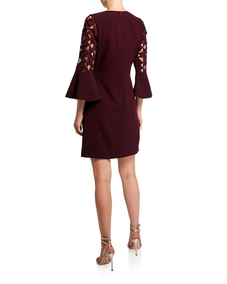 Elie Tahari Esmarella Bell-Sleeve Sheath Dress with Cutouts
