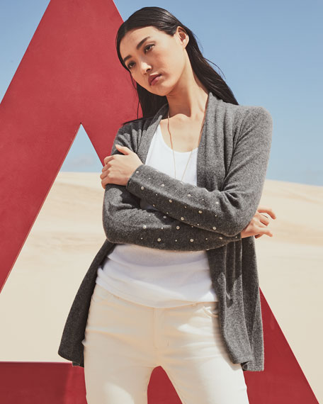 Neiman Marcus Cashmere Collection Open-Front Cashmere Cardigan with Pearly Cuff Detail