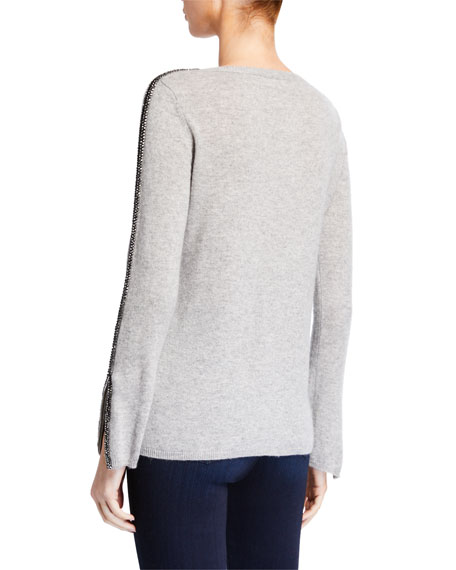 Neiman Marcus Cashmere Collection Cashmere Crewneck Zip-Cuff Sweater with Embellished Sleeves