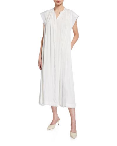 Ivah Zip-Front Short-Sleeve Midi Dress