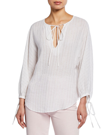 Rails Finn Striped Linen Long-Sleeve Top