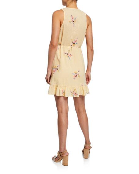 Rails Madison Floral Linen Flounce Wrap Dress