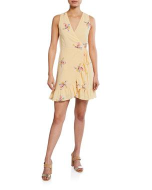 c2a4bd84903bc Rails Madison Floral Linen Flounce Wrap Dress