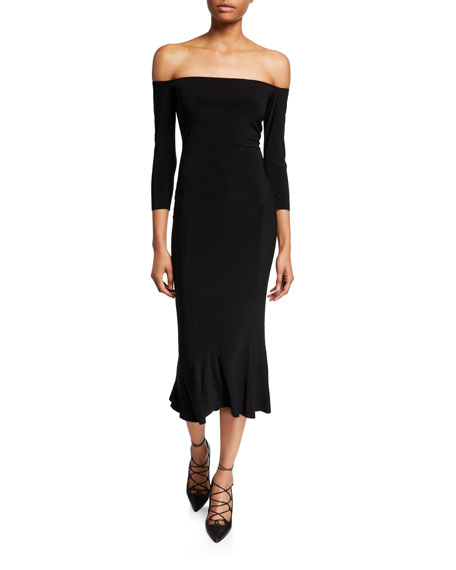 Norma Kamali Off-the-Shoulder Midi Fishtail Dress