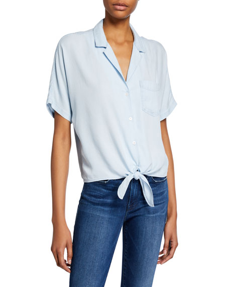 Rails Holly Short-Sleeve Tie-Front Top