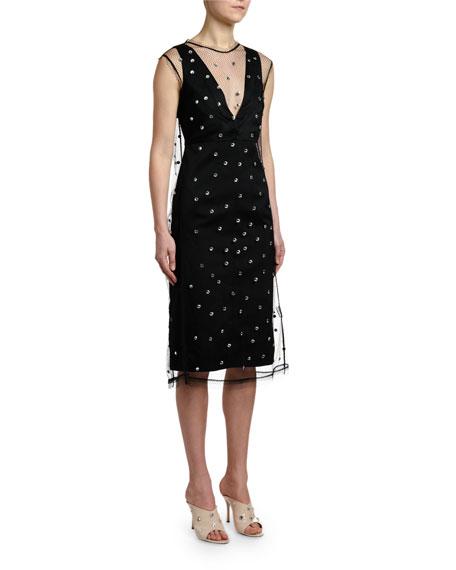 No. 21 Crystal-Embellished Net Sleeveless Midi Dress
