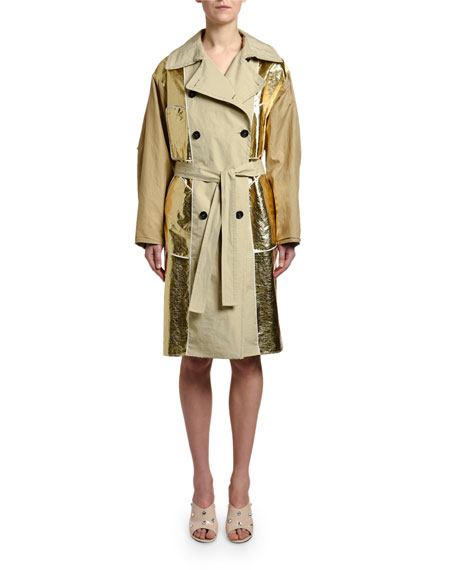 No. 21 Belted Metallic Trench Coat