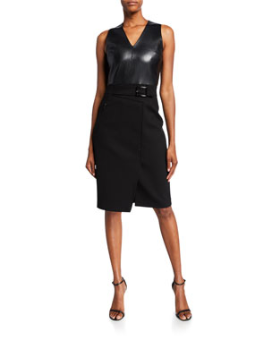 5d4de189b1e4 Elie Tahari Auriana Sleeveless Leather-Bodice Dress
