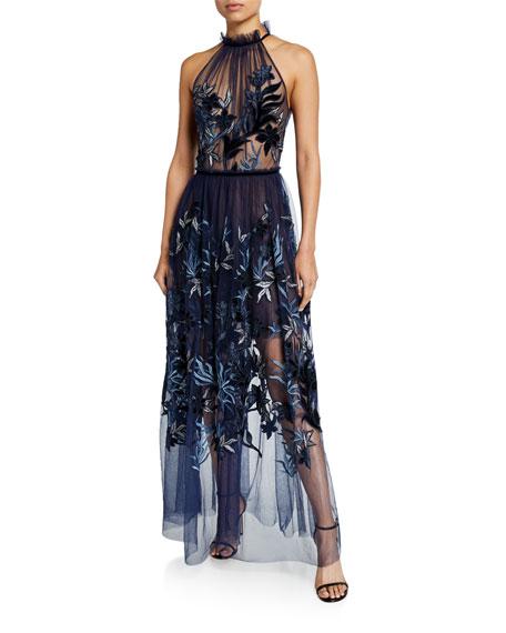 Elie Tahari Myranda Sheer Tulle Halter Dress with Velvet Embroidery